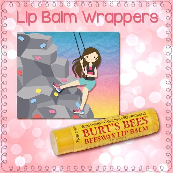 Rock Climbing Climber Girl Lip Balm Wrapper, Label, Chapstick, digital, instant download