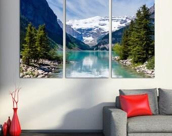 "Lake Louise, Rocky Mountain - 3 Panel Split, Triptych Canvas Print. 1.5"" frames - for office decor & interior design."