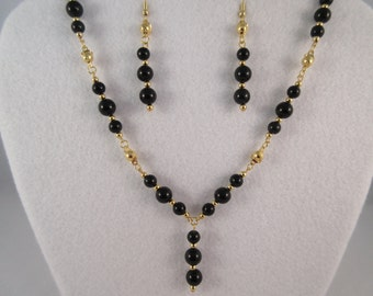 Black Obsidian Necklace and Earrings