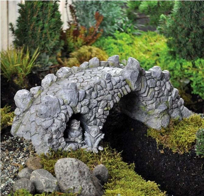 Trolls under a bridge miniature fairy garden troll for Garden trolls