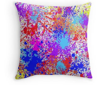 Multi Color Paint Splash Pillow, Paint Splatter Pillow, Paint Spill PIllow, Paint Splash Pillow, Paint Splash Decor, Paint Splash Bedding