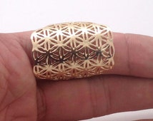 Hexagon Flower Of Life Ring - Gold Plated 14K sizes 8 9 Sacred geometry