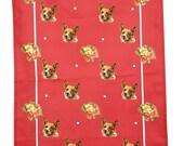 Tea-towel, dog, Corgi, British, Royal, vintage home, retro, red