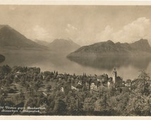 Vitznau on Lake Lucerne, Switzerland,  Circa 1930s Real Photo Unused Postcard