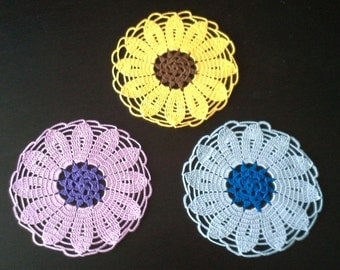 Crochet Flower Doilies set of 3