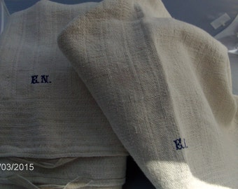 vintage French linen tea towels- blue initials