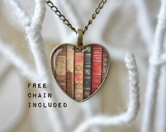Vintage books heart shape necklace. Romantic gift pendant. Reader's gift. Free matching chain is included.