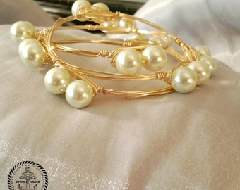 Pearl Bangled bracelet set