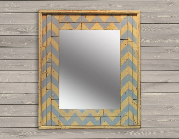 rustic blue and white chevron wall mirror recycled
