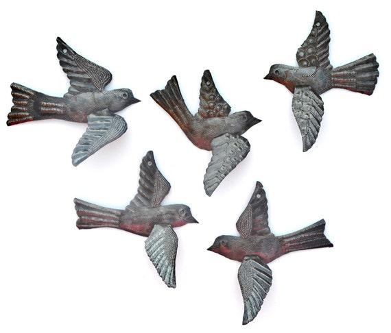 Metal Art Birds, Handmade Wall Art, Haiti Metal Art, Folk Art, 3-D, Bird Collectibles, Recycled Hammered Steel