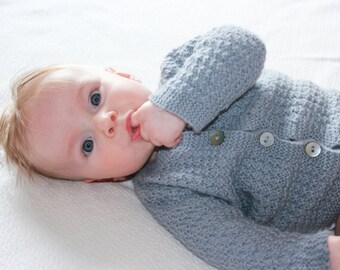 Hand Knitted Merino Lambswool Baby Cardigan in Gray, White and Pearl Blue - More Colors