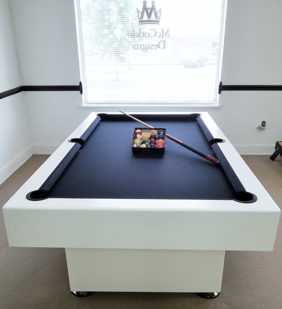 7ft Custom Modern Pool Table With Black Felt All White Finish