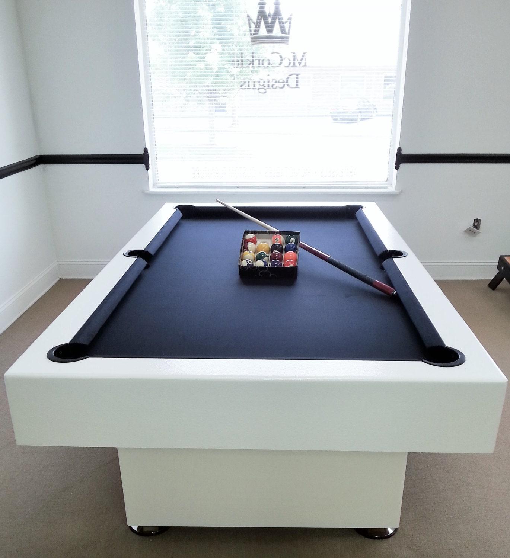 7ft Custom Modern Pool Table With Black Felt All White Finish