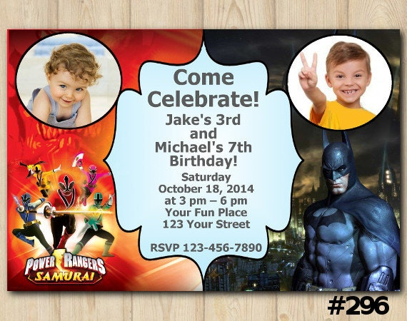Joint Twins Invitation Power Rangers Batman Birthday Party Custom
