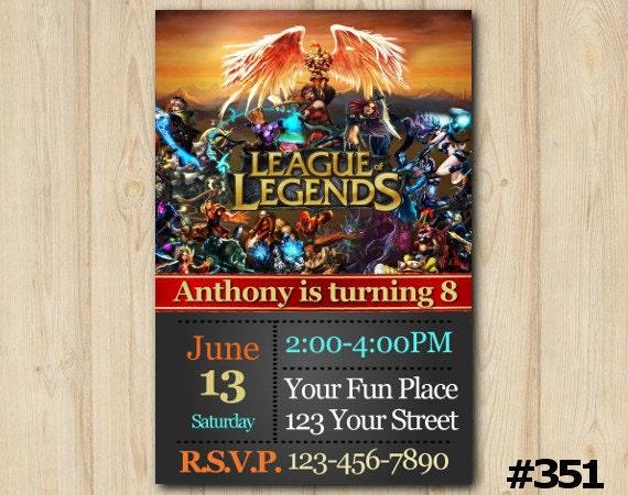 LEAGUE Of LEGENDS Invitation LOL Birthday LoL Party League LegendS Custom Invite351
