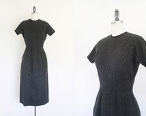 Holiday Dress // 1950s Day Dress // X-Small to Small Dark Gray Dress for Women // Vintage 50s Women's Day Dress