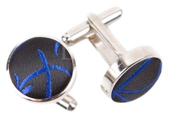 Swirl Black & Blue Cufflinks