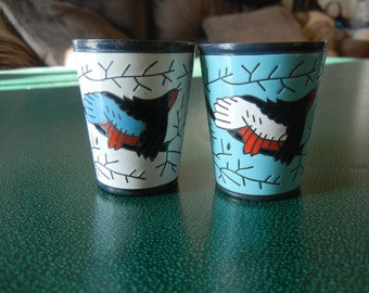Retro metal enamel painted bird shot glasses from Russia/USSR - 1980s - Set of 2