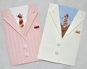 The Great Gatsby Suit Gift Card Holder, Handmade Mini Greeting Card, Envelope - Your Choice of Pink or Ivory - Inspired by Brooks Brothers!