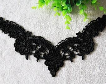 2 pieces black lace Collar Appliques,Floral Embroidered Collar applique,collar accessory,flowers Collar Supply For DIY Dress(97-53)