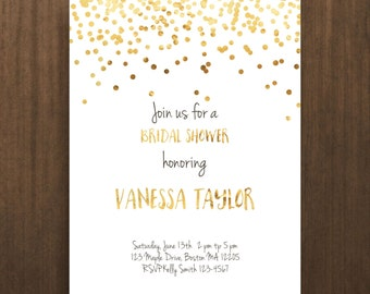 bridal shower invite confetti wedding shower printable invitation printable shower diy invitation gold bridal shower