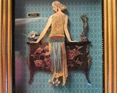 Framed 3-D Decoupage Artwork  Lady With Bombay Chest by Brooke Tucker