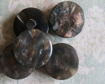 Set of five glossy nature marble colour look inbuild shank buttons