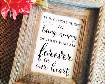In loving memory CANDLE Wedding Memorial Candle Sign this CANDLE burns  - forever in our hearts  (Stylish) (Frame NOT included)