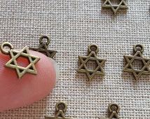 Star Of David Charms X 10. Jewish Charms. Kabbalah Charms. Bronze Tone - UK seller