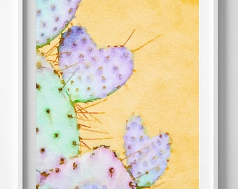 Cactus Art Print,Painting,Watercolor,Emerald Green,Purple.PIC NO 65