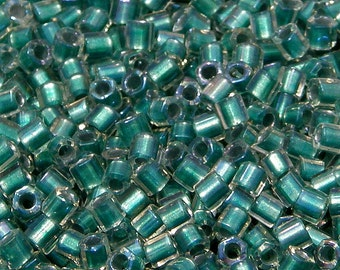 Toho 8/o Hex Teal Lined Crystal Rainbow Seed Beads (8THex264), 23 grams