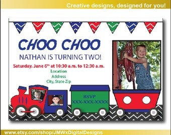 Custom Train birthday part invitation, birthday invitation, train party, choo choo party, choo choo invitation