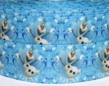"""Olaf 1"""" Grosgrain Ribbon - Frozen Olaf Ribbon - 2 yards Frozen Grosgrain Ribbon - Frozen Olaf Grosgrain Ribbon - Olaf Ribbon"""