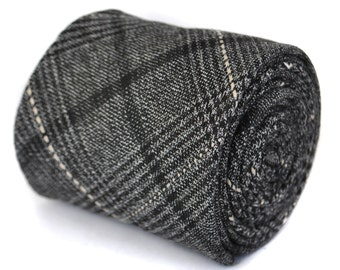 black and grey checked tweed wool tie by Frederick Thomas FT1941