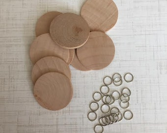 Wood Discs, Extra Discs Qty. of 10, Pre -drilled Birthday Discs, Heart Discs, Hanging Discs birthday board,Family Birthday Calendar Discs