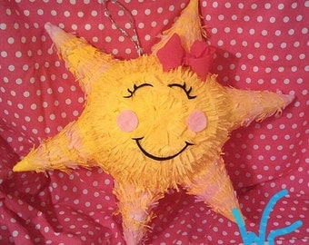 You Are My Sunshine PIÑATA with Closed Eyes and Dark Pink Bow