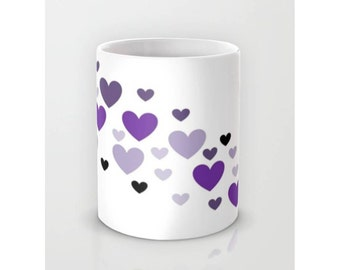 Hearts Coffee Mug Purple Mug Lavender Mug Ceramic Coffee Mug Coffee Mug Ceramic Coffee Mug  Tea Tea Lover Gift Idea Tea Cup Tea Time