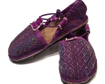 Shoes purple hand crafted vegan Espadrilles handwoven cotton sustainable eco-friendly repurposed USA