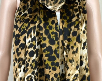 Classic leopard print scarf, color butyl satin printed scarf, shawl, multi-function women accessories, a birthday present