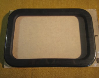 """Rectangle with rounded corners shaped frame, dark charcoal, 10 1/4"""" x 7"""", inside 9"""" x 5 1/4"""", for needlework, no glass, molded resin"""