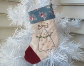 Christmas Stocking Tree Ornaments - Hand Embroidered