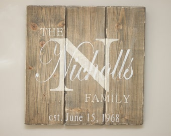 Personalized, Monogram Wood Family Sign