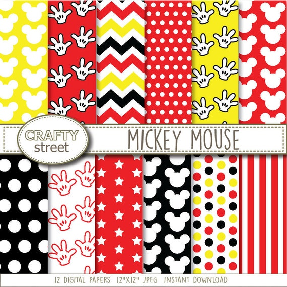 Paper patterned background disney birthday party mickey polka dots
