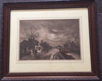 Antique Framed Print Titled 'The Forge- Moonrise'