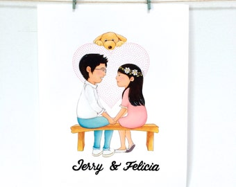 Wedding Invitation, Custom wedding Invitation, Save the Date Personalized Character Drawings
