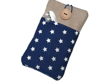 iPhone 7 Pouch / iPhone SE sleeve / iPhone 7 Plus  / iPhone 6 Plus Case / ipod touch 6g sleeve / iPhone 5 cover - Linen, Dark blue stars