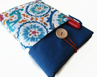 Fabric covered Nook HD 7 / Kindle Fire Case / Galaxy Tab 7 Cover / Google's Nexus 7 Pouch / Case Pockets Blue orange  - Ready TO SHIP