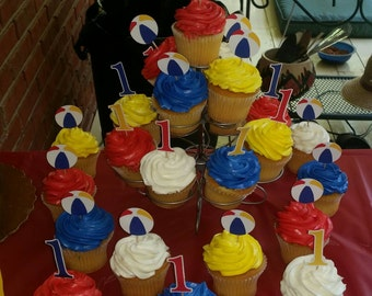 """Beach ball and """"1"""" cupcake toppers"""