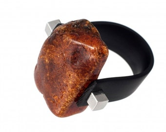 Amber ring with caoutchouc | Ring Size 10 US