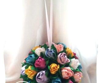 "Alternative Wedding Bouquet. Satin Roses. ""Rainbow"""